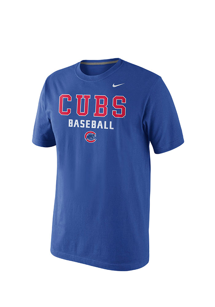 Nike Chicago Cubs Mens Blue MLB SS Practice Tee 1.5 Short Sleeve T Shirt - Image 1