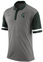 Nike Michigan State Spartans Mens Grey Team First Short Sleeve Polo