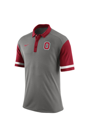 Nike The Ohio State University Mens Grey Staduim Team Short Sleeve Polo Shirt