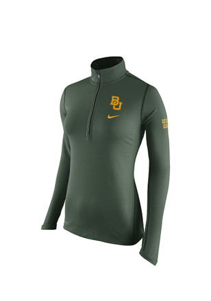 Nike Baylor Womens Tailgate Element Green 1/4 Zip Performance Pullover