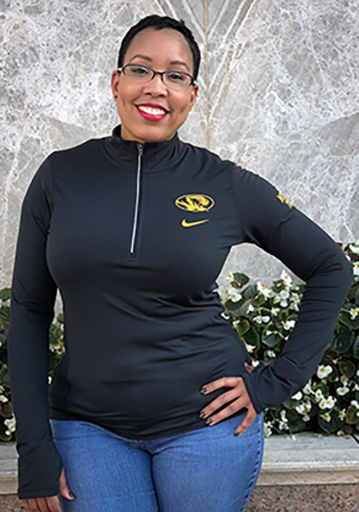 Nike Mizzou Tigers Womens Black Tailgate Element 1/4 Zip Pullover - Image 4