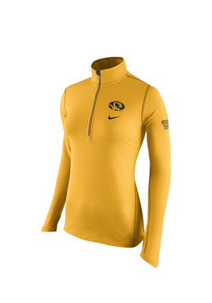 Nike Mizzou Tigers Womens Tailgate Element Gold 1/4 Zip Performance Pullover