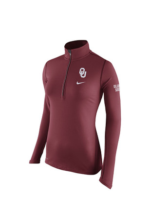 Nike Oklahoma Womens Tailgate Element Red 1/4 Zip Performance Pullover