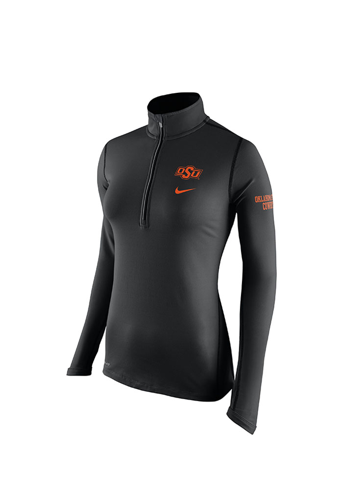 Nike OSU Womens Black Tailgate Element 1/4 Zip Pullover, Black, 89% POLYESTER/ 11% SPANDEX, Size L