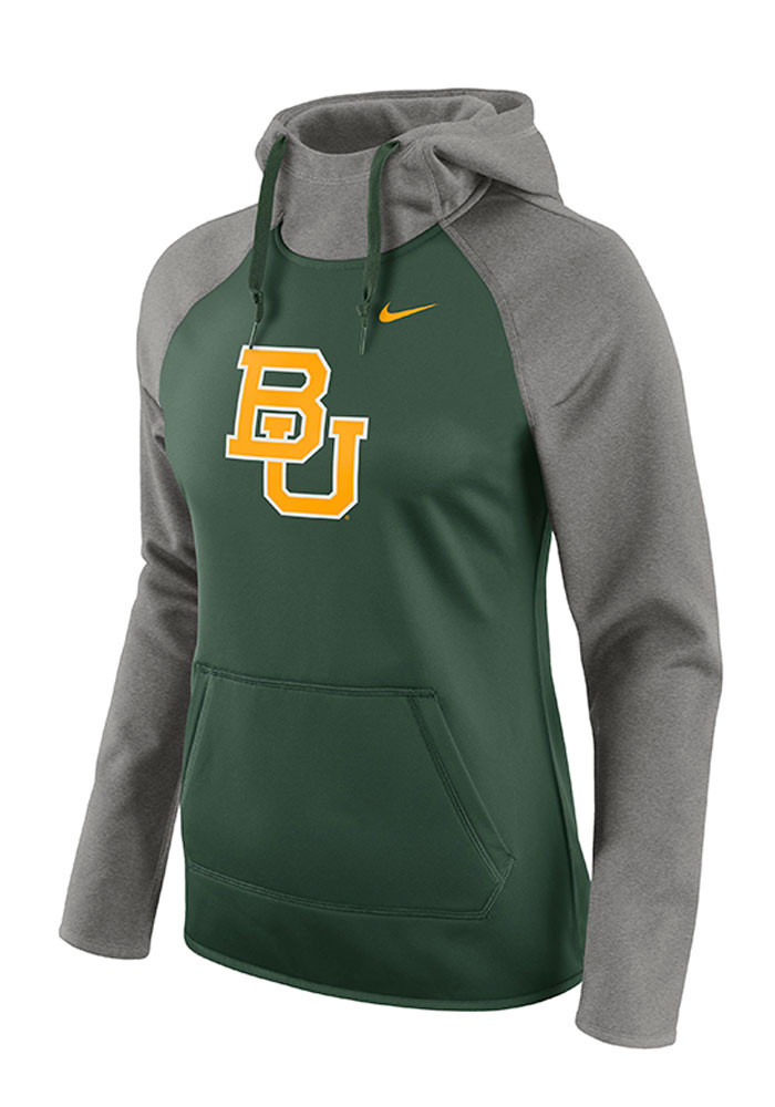 Nike Baylor Bears Womens Green Tailgate All Time Hooded Sweatshirt - Image 1