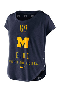Nike Michigan Wolverines Womens Gameday Signal Navy Blue T-Shirt