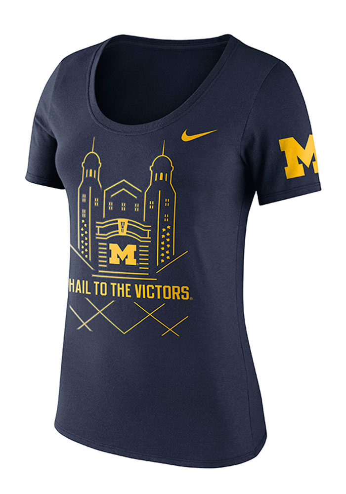Nike Michigan Wolverines Womens Navy Blue Washed Campus Short Sleeve Crew T-Shirt - Image 1