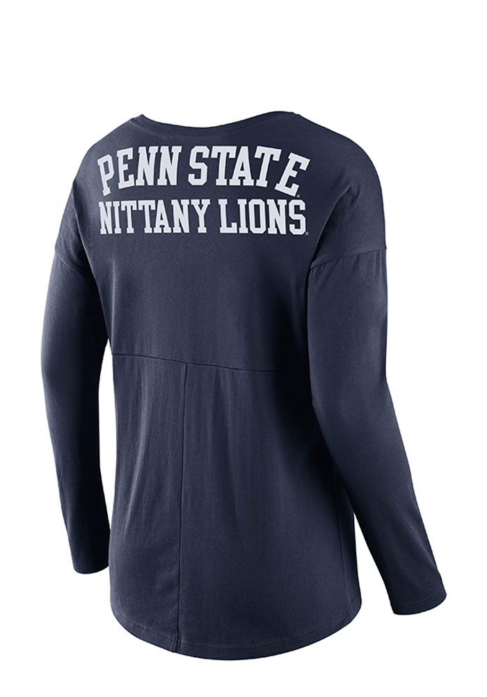 Nike Penn State Womens Navy Blue Tailgate Long Sleeve Scoop Neck - Image 2