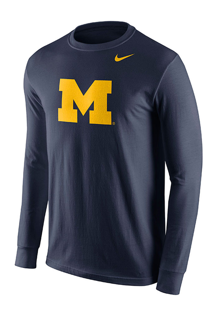 Nike michigan wolverines mens navy blue logo long sleeve t for Navy blue and white nike shirt