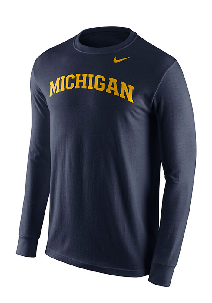 Nike michigan wolverines mens navy blue wordmark long for Navy blue and white nike shirt