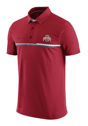 Nike The Ohio State University Mens Red Elite Short Sleeve Polo Shirt