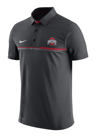Nike The Ohio State University Mens Grey Elite Short Sleeve Polo Shirt
