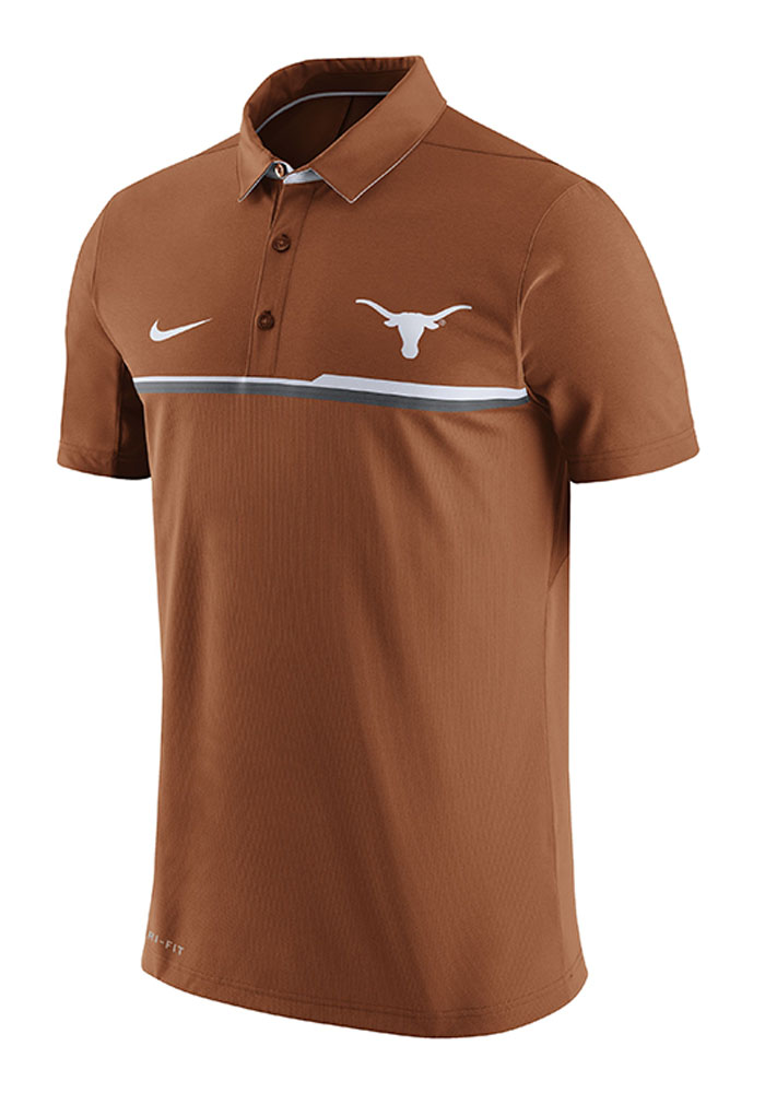 Nike Texas Longhorns Mens Orange Elite Short Sleeve Polo - Image 1