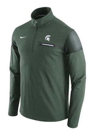 Nike Michigan State Spartans Mens Green Elite Coaches 1/4 Zip Pullover