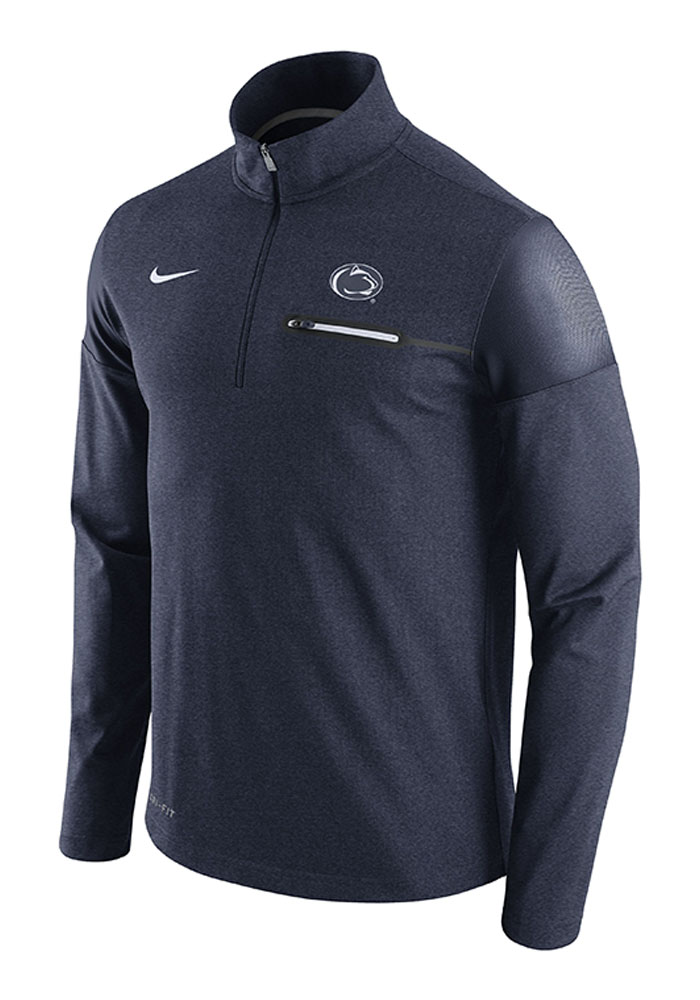 Nike Penn State Nittany Lions Mens Navy Blue Player Top Long Sleeve 1/4 Zip Pullover - Image 1