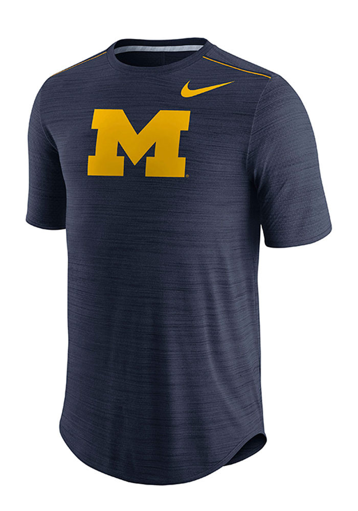 Nike michigan wolverines mens navy blue player top short for Navy blue and white nike shirt