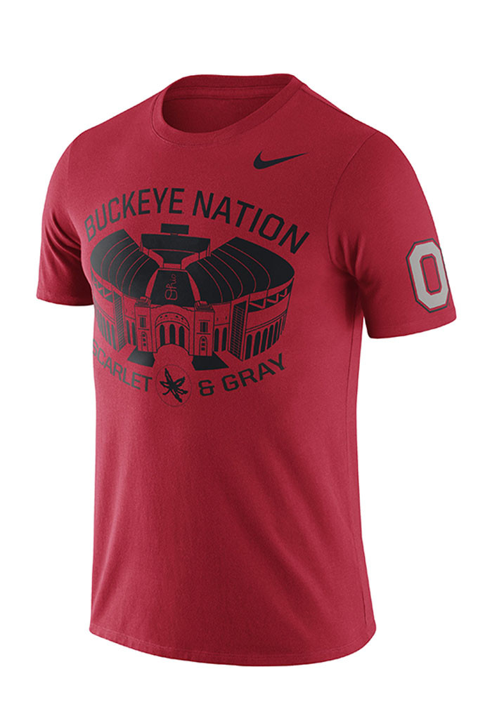 Nike ohio state buckeyes mens red campus elements short for Ohio state shirts mens