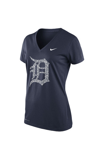 Nike detroit tigers womens navy blue graphic logo t shirt for Navy blue and white nike shirt