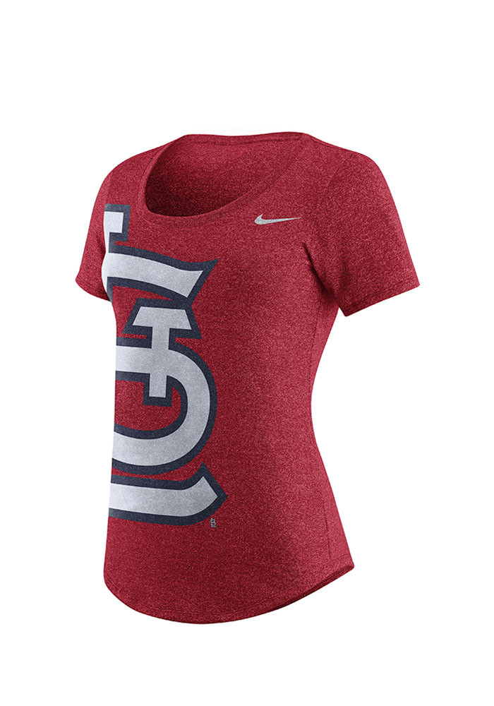 Nike St Louis Cardinals Womens Red Marled Athletic Scoop T-Shirt - Image 1