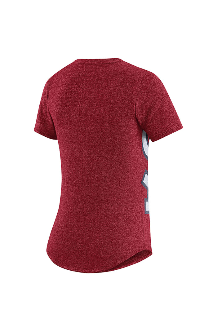 Nike St Louis Cardinals Womens Red Marled Athletic Scoop T-Shirt - Image 2