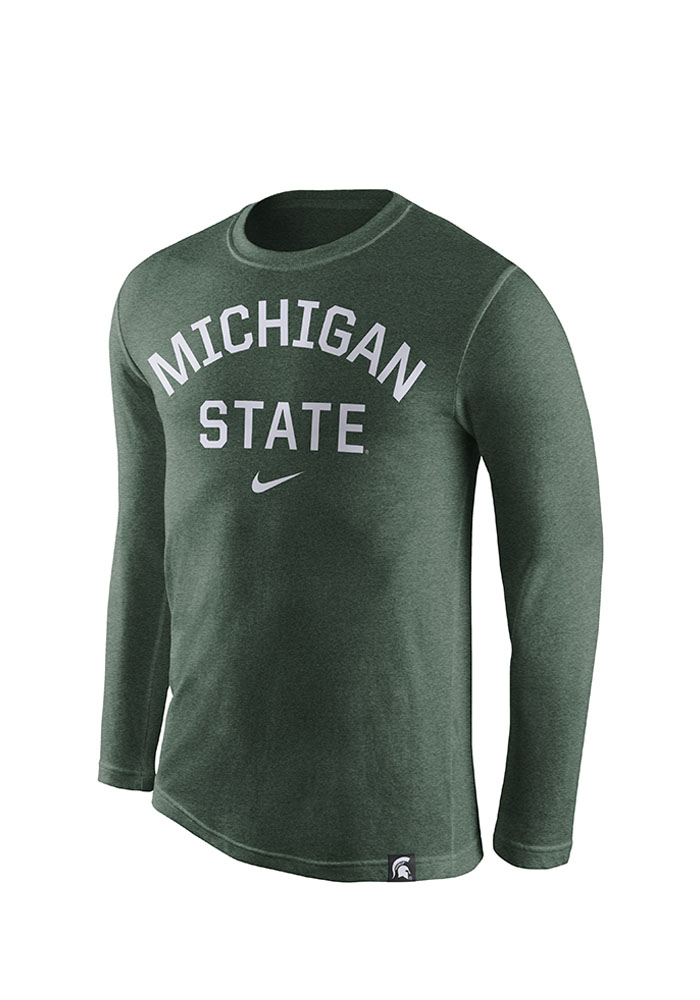 Nike Michigan State Spartans Mens Green Tri-Convic Long Sleeve T Shirt - Image 1