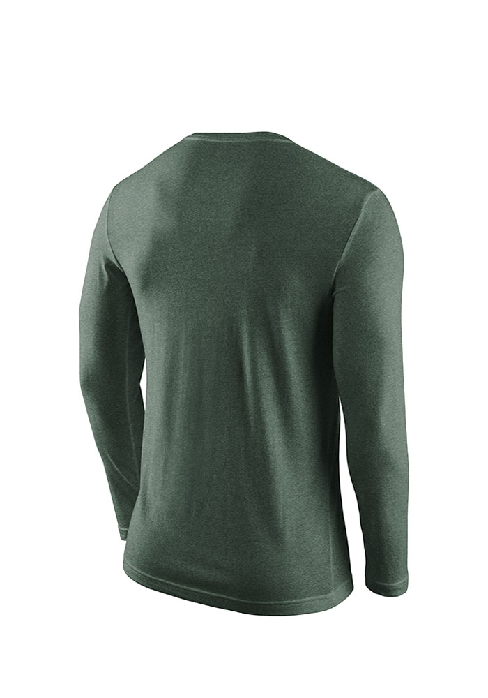 Nike Michigan State Spartans Mens Green Tri-Convic Long Sleeve T Shirt - Image 2