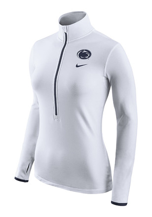 Nike Penn State Womens Hyperwarm White 1/4 Zip Performance Pullover