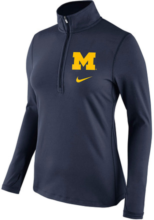 Nike Michigan Wolverines Womens Tailgate Navy Blue 1/4 Zip Pullover