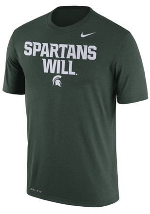 Nike Michigan State Spartans Mens Green Spartans Will Tee