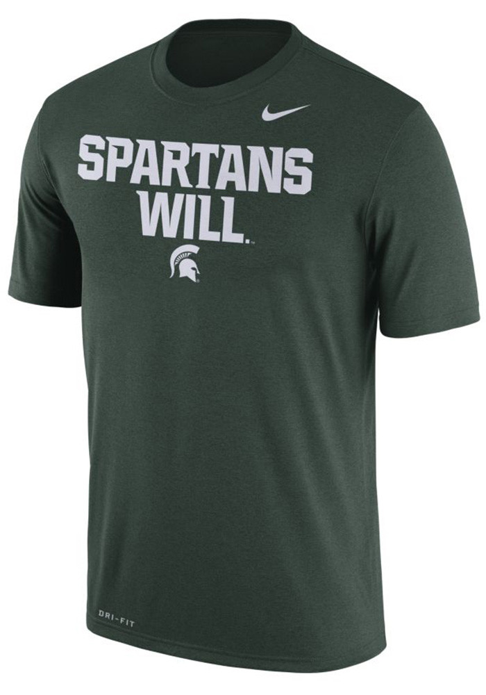 Nike Michigan State Spartans Mens Green Spartans Will Short Sleeve T Shirt - Image 1