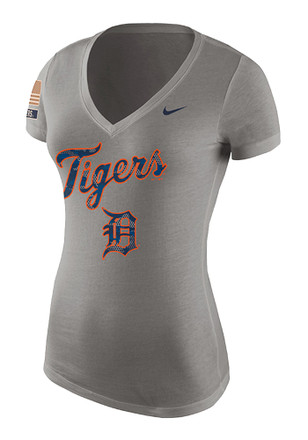 Nike Detroit Tigers Womens Grey Memorial Day V-Neck