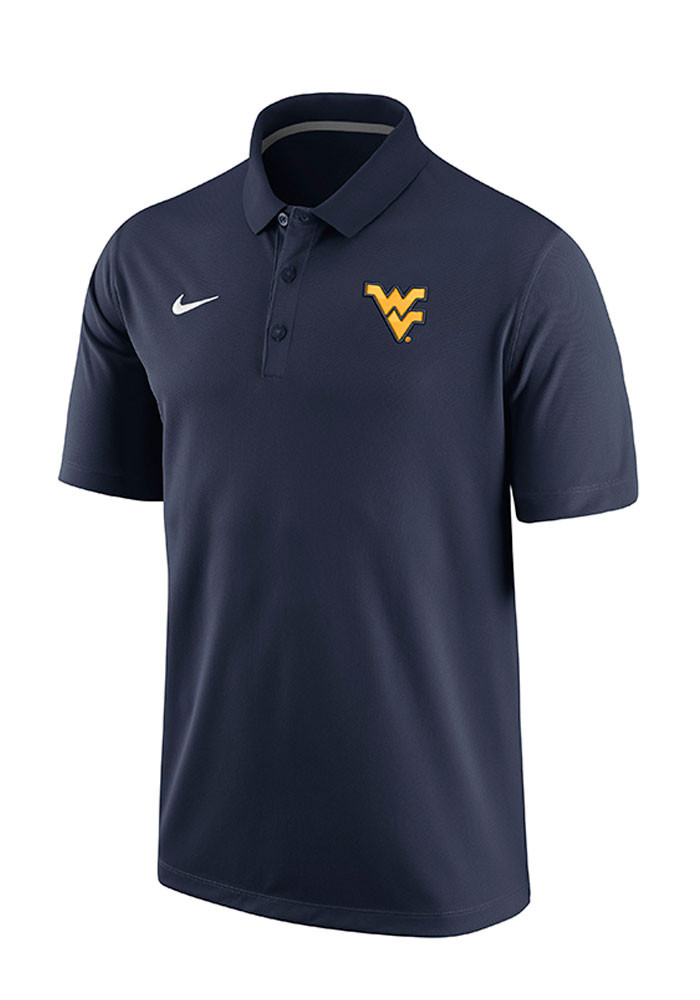 Nike West Virginia Mountaineers Mens Navy Blue Team 1st Short Sleeve Polo - Image 1