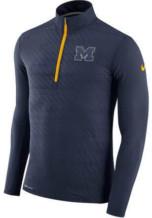 Nike Michigan Wolverines Mens Navy Blue Element 1/4 Zip Pullover