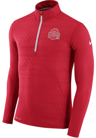 Nike The Ohio State University Mens Red Element 1/4 Zip Performance Pullover