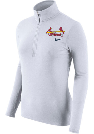 Nike STL Cardinals Womens Element White 1/4 Zip Performance Pullover