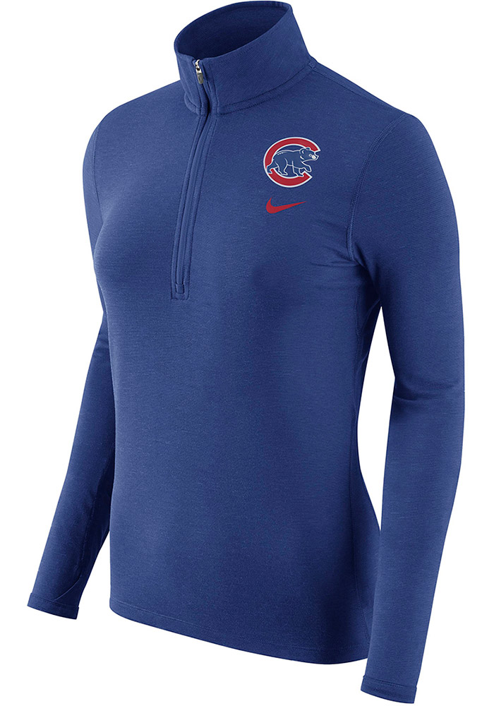 official photos f4394 646dd Nike Chicago Cubs Womens Blue Element 1/4 Zip Pullover