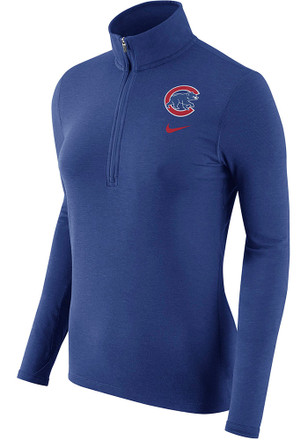 Nike Chicago Cubs Womens Element Blue 1/4 Zip Performance Pullover