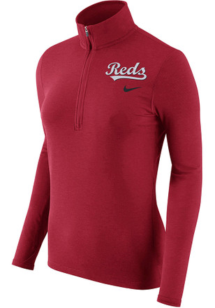 Nike Cincinnati Reds Womens Element Red 1/4 Zip Performance Pullover