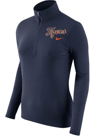 Nike Detroit Tigers Womens Element Navy Blue 1/4 Zip Performance Pullover