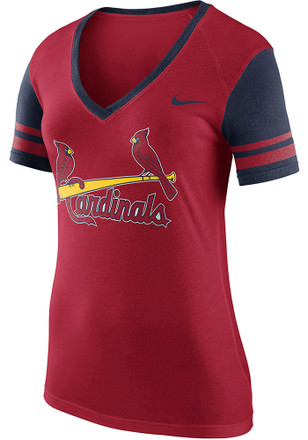 Nike STL Cardinals Womens Red Fan V-Neck