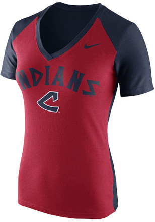 Nike Cleveland Indians Womens Red Cooperstown Fan V-Neck