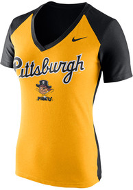 Nike Pittsburgh Pirates Womens Gold Cooperstown Fan V-Neck