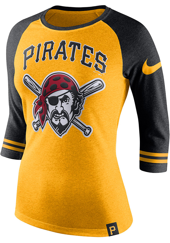 Nike Pittsburgh Pirates Womens Gold Triblend Raglan Long Sleeve Crew