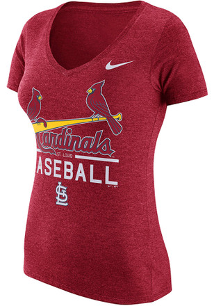 Nike STL Cardinals Womens Red Triblend Practice V-Neck