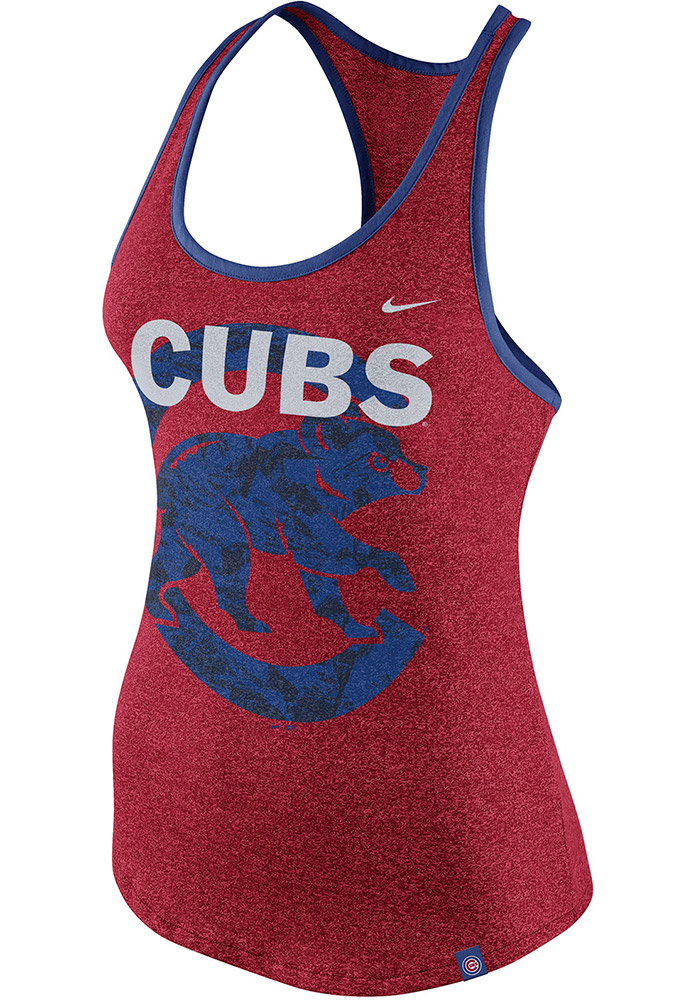 Nike Chicago Cubs Womens Red Marled Racerback Tank Top - 12517190 b97fdd832