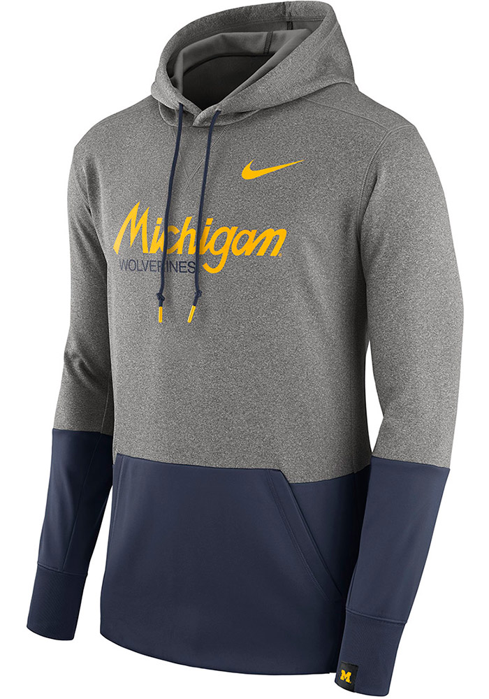 Nike Michigan Wolverines Mens Grey Therma Hood, Grey, 100% POLYESTER, Size XL