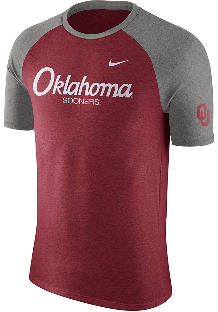 Nike Oklahoma Sooners Crimson Script Raglan Short Sleeve Fashion T Shirt - Image 1