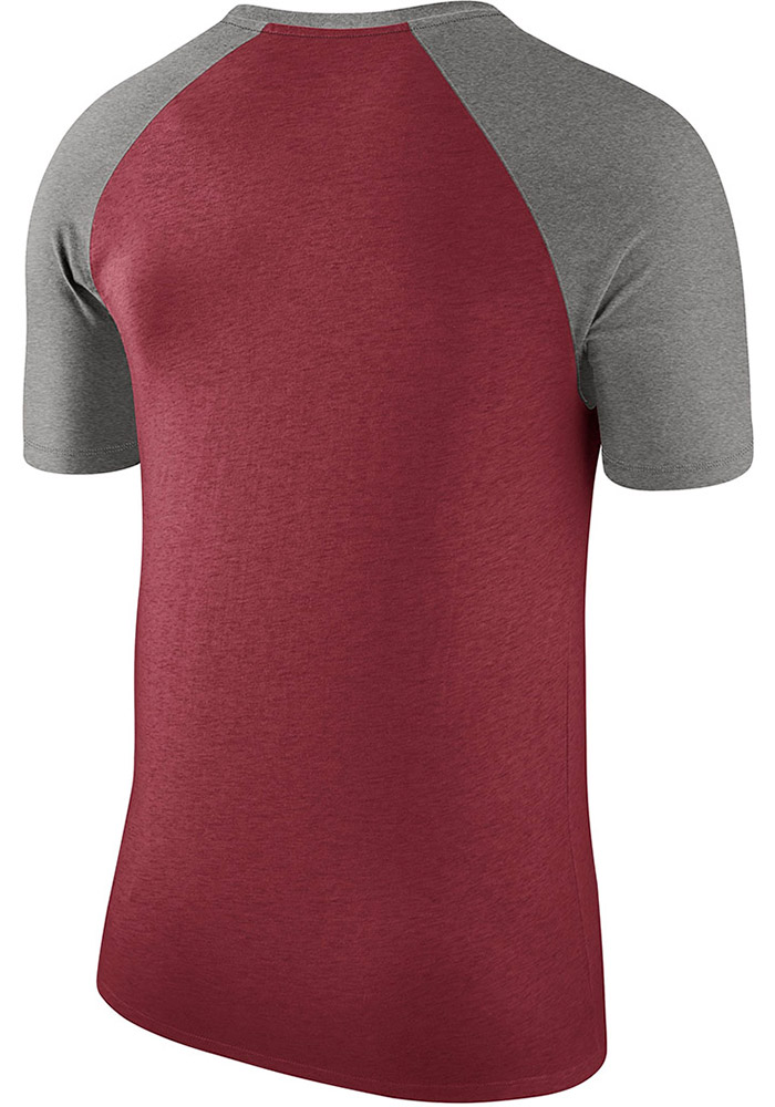 Nike Oklahoma Sooners Crimson Script Raglan Short Sleeve Fashion T Shirt - Image 2