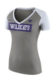 Nike K-State Wildcats Womens Grey Tailgate Football V-Neck