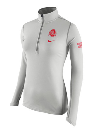 Nike The Ohio State University Womens Element Grey 1/4 Zip Performance Pullover